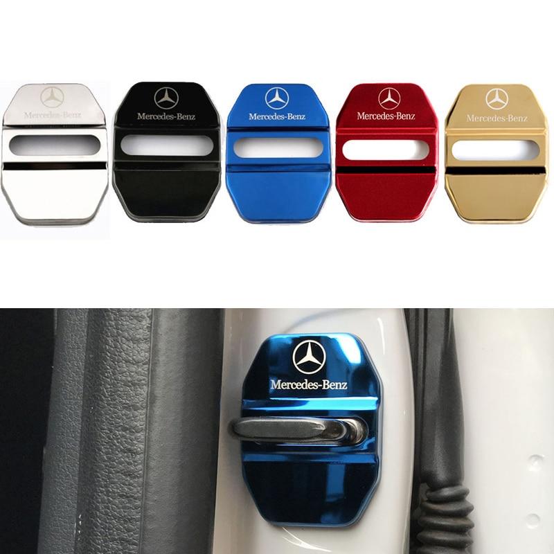4 PCS Car Door Lock Covers Car Decoration Case Sticker For Mercedes Benz B R G Class GLK GLA C200 E200 C200L S400 Car Styling