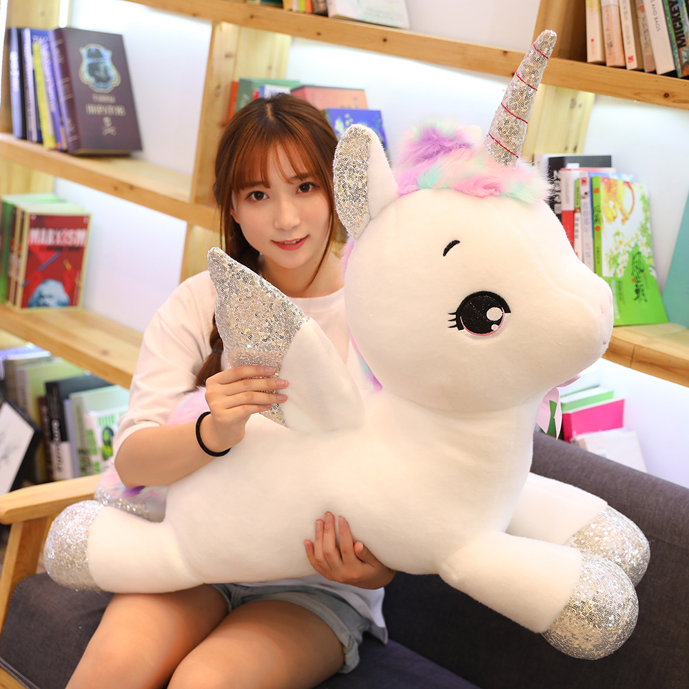 30-80cm Giant Kawaii White Unicorn Plush Toys Soft Stuffed Unicornio Soft Pillow Dolls Lovely Animal Horse Gift For Kids Girls