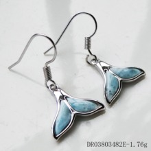 Real 925 Sterling Silver Natural Dominica Larimar Whale Tail Drop Earrings For Women