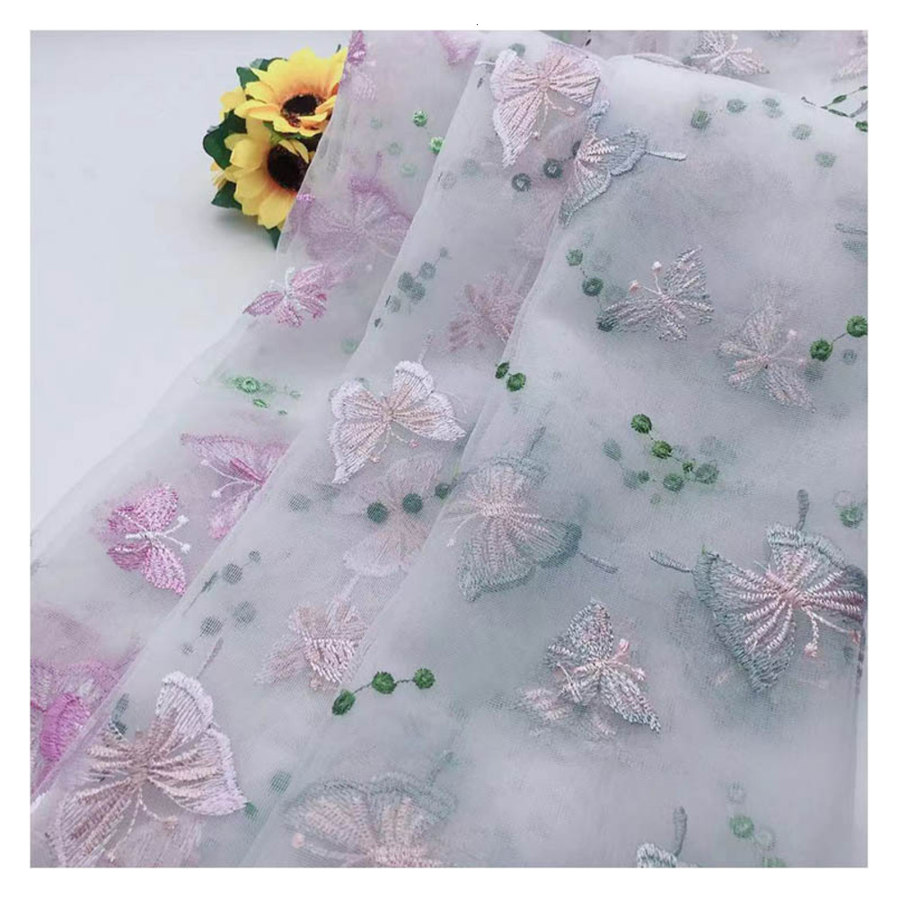 100x130cm Apparel Sewing Organza Fabric Dress Curtain Butterfly Print Cloth DIY Chiffon Flower Lace Wedding Gown Chiffon Cloth