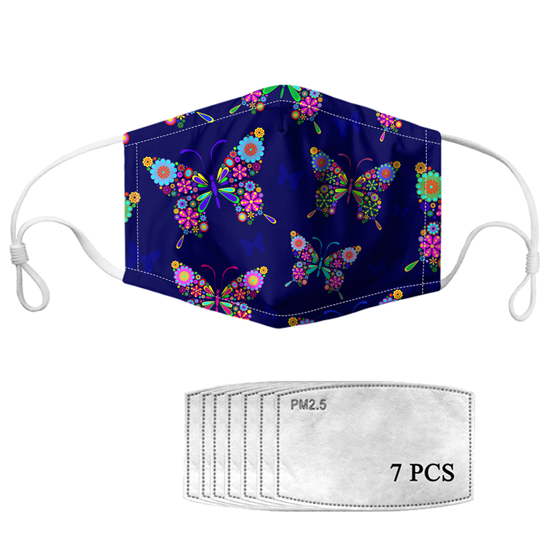 HYCOOL Face Mask For Women Men Butterfly Flower Pattern Unisex Hospital Doctor Facial Cover Mouth Masks Filters PM2.5 Prevent
