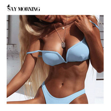 SAY MORNING V-Neck Push up Swimsuit 2020 Backless Solid Color Sexy Bikini Set Bathing Suit Female Summer Beach