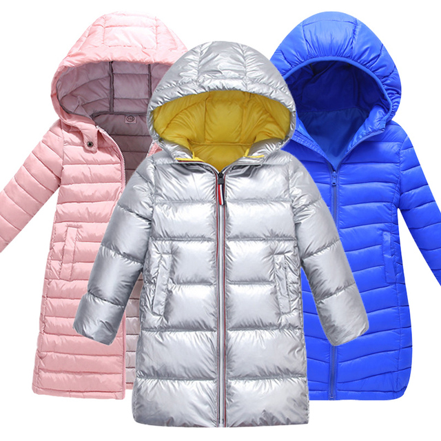 Fashion Kids Jackets For Boys Girls Autumn Winter Hooded Cotton-padded Down Coat boy Warm Long Outerwear Parkas 7 colors