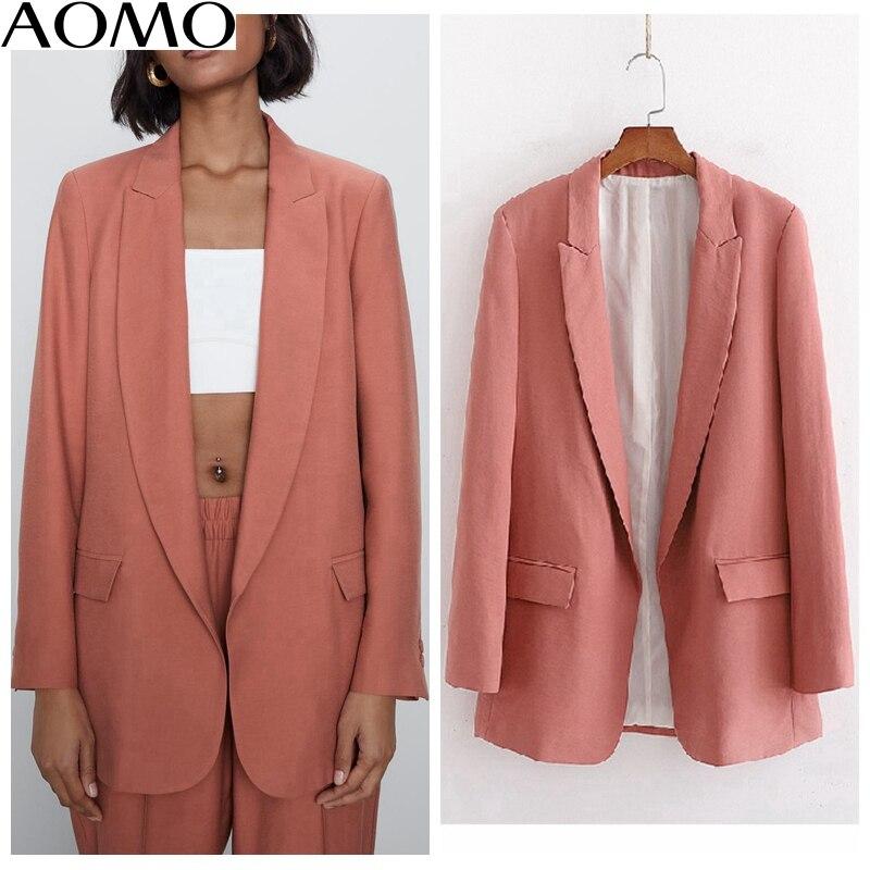 AOMO  Fashion Women Vintage Solid Blazer Pockets Long Sleeve Elegant Jacket Ladies Work Wear Blazer Suits 1D205A
