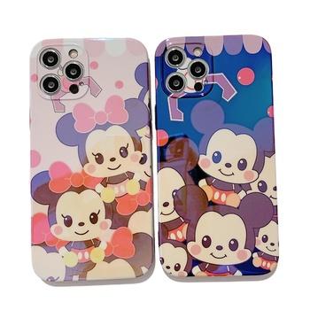 Obudowa na telefon Disney z pokrowcem na wspornik stojakowy na 11 Pro Max SE 2020 7 8 12 Pro X XS XR 7Plus 8Plus Blu-ray Mickey Mouse tanie i dobre opinie CN (pochodzenie) apple animal Rear cover type Cartoons Machining