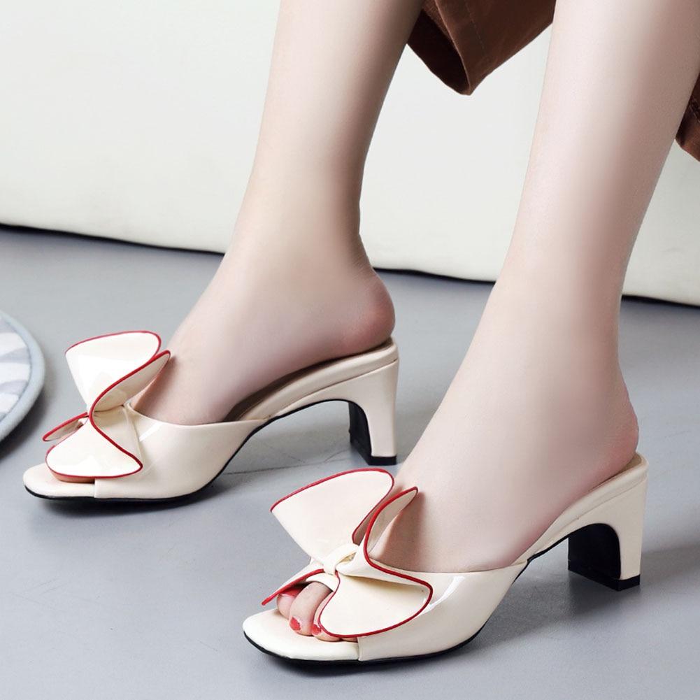 Karinluna New Plus Size 44 Lady Square Heels Sweet Bow Mules Summer Women Shoes Sandals Woman Slipper