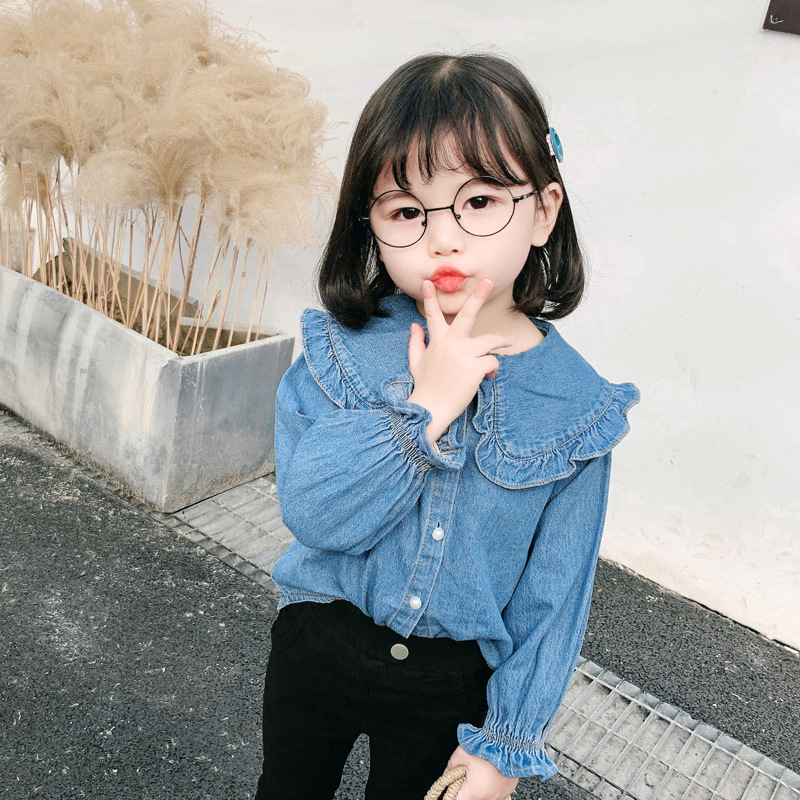 2020 Spring New Style 1-6-Year-Old Girls Fashion Cute Versatile Sweet Casual Cool Denim Shirt