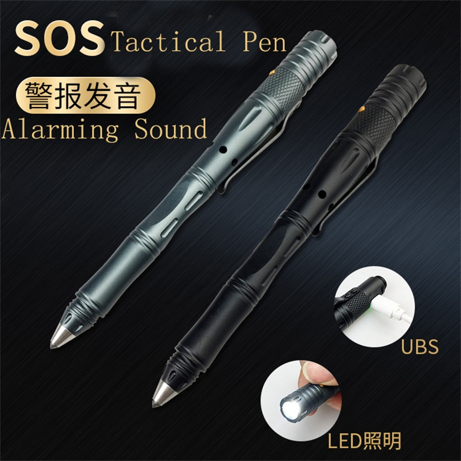 Multifunctional SOS alarm tactical pen anti-wolf self defense Pen supplies Emergency Help with LED light rechargeable body Guard