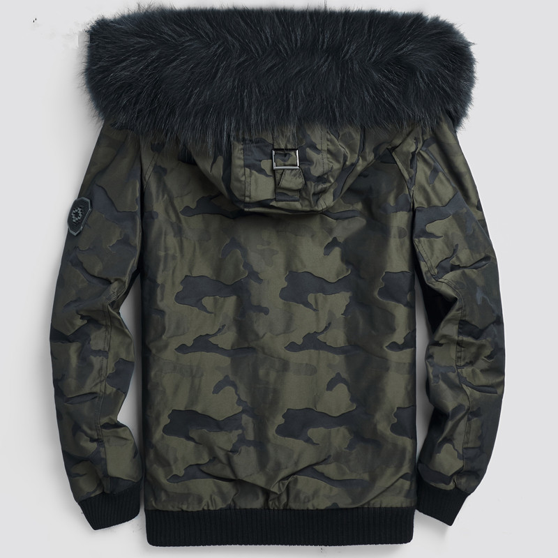 Winter Jacket Men Real Rabbit Fur Liner Coat Raccoon Fur Collar Camouflage Jacket Plus Size Parkas LSY088129 MY1365