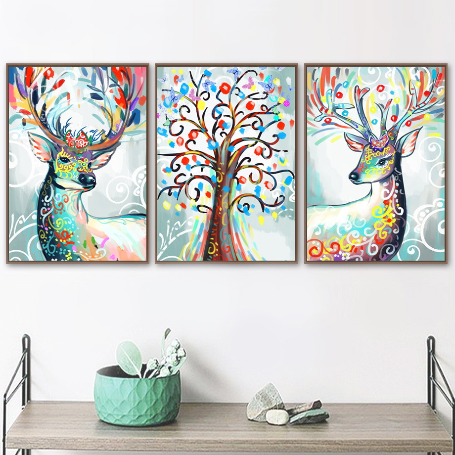 Flower Sika Deer Butterfly Tree Wall Art Canvas Painting Animal Nordic Posters And Prints Pictures For Living Room Decor