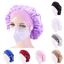 New Women Satin Bonnet Adjustable Size Sleep Night Cap Head Cover Bonnet Hat for For Curly Springy Hair Black Headwear Satin Hat