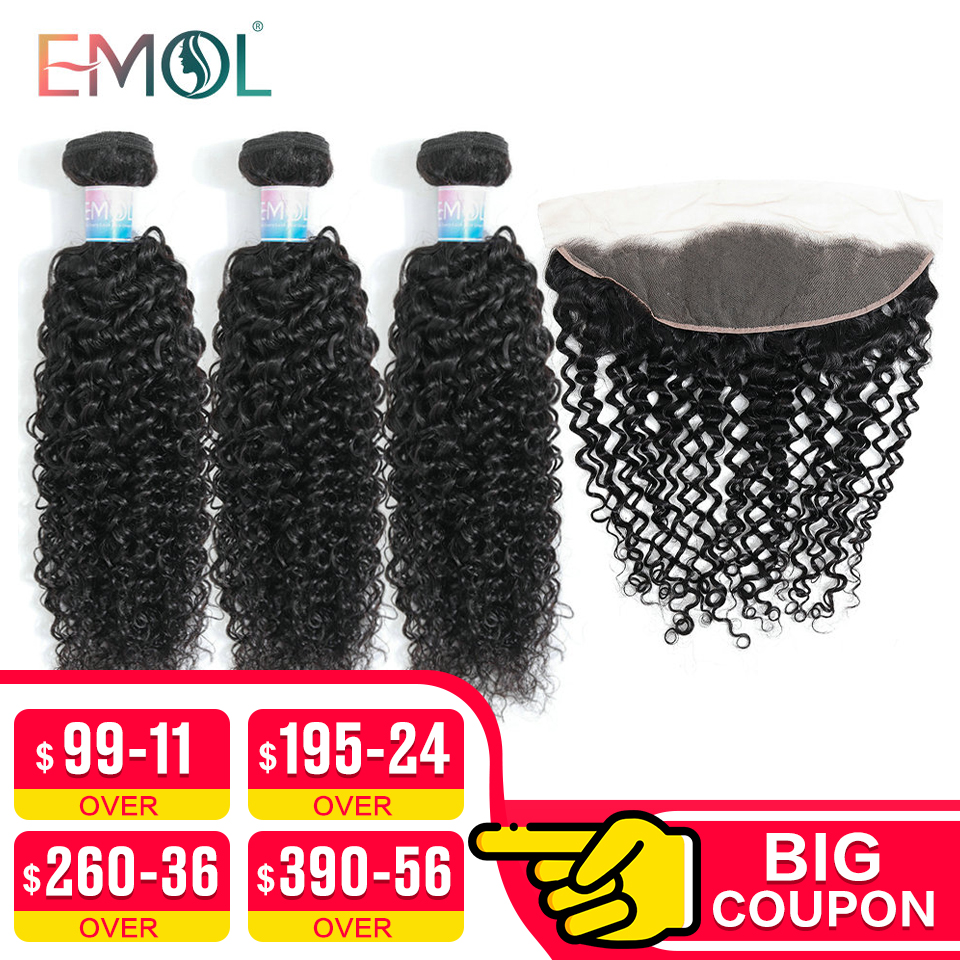 EMOL Kinky Curly Bundles With Frontal Human Hair Weave Bundle With Frontal Brazilian Hair Bundle With 13*4 Lace Frontal Non-remy