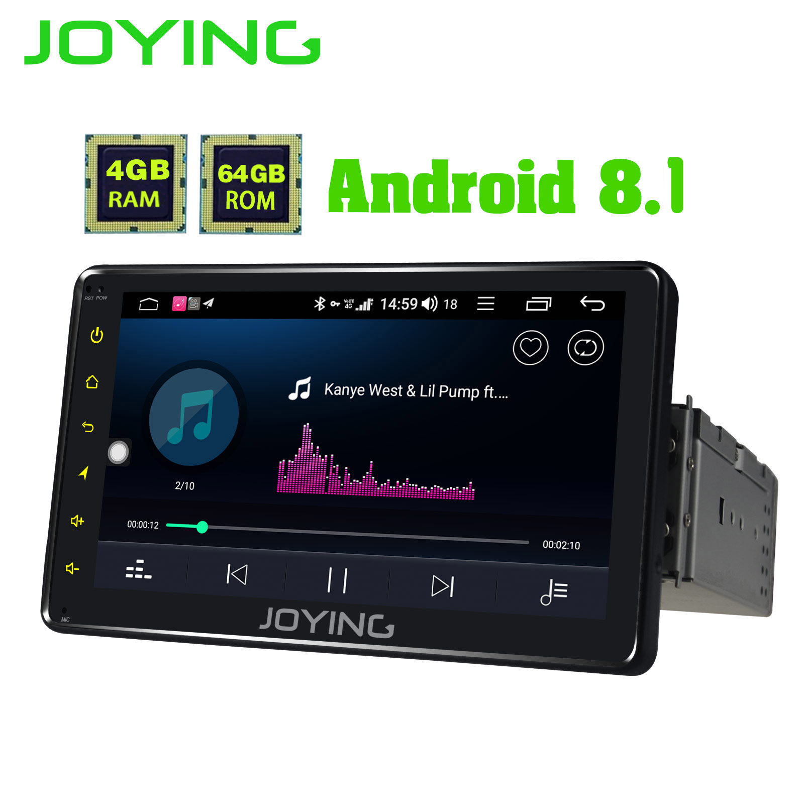 JOYING Navi Autoradio Display 1-Din android Carplay/swc Stereo-Support Octa-Core 4G GPS