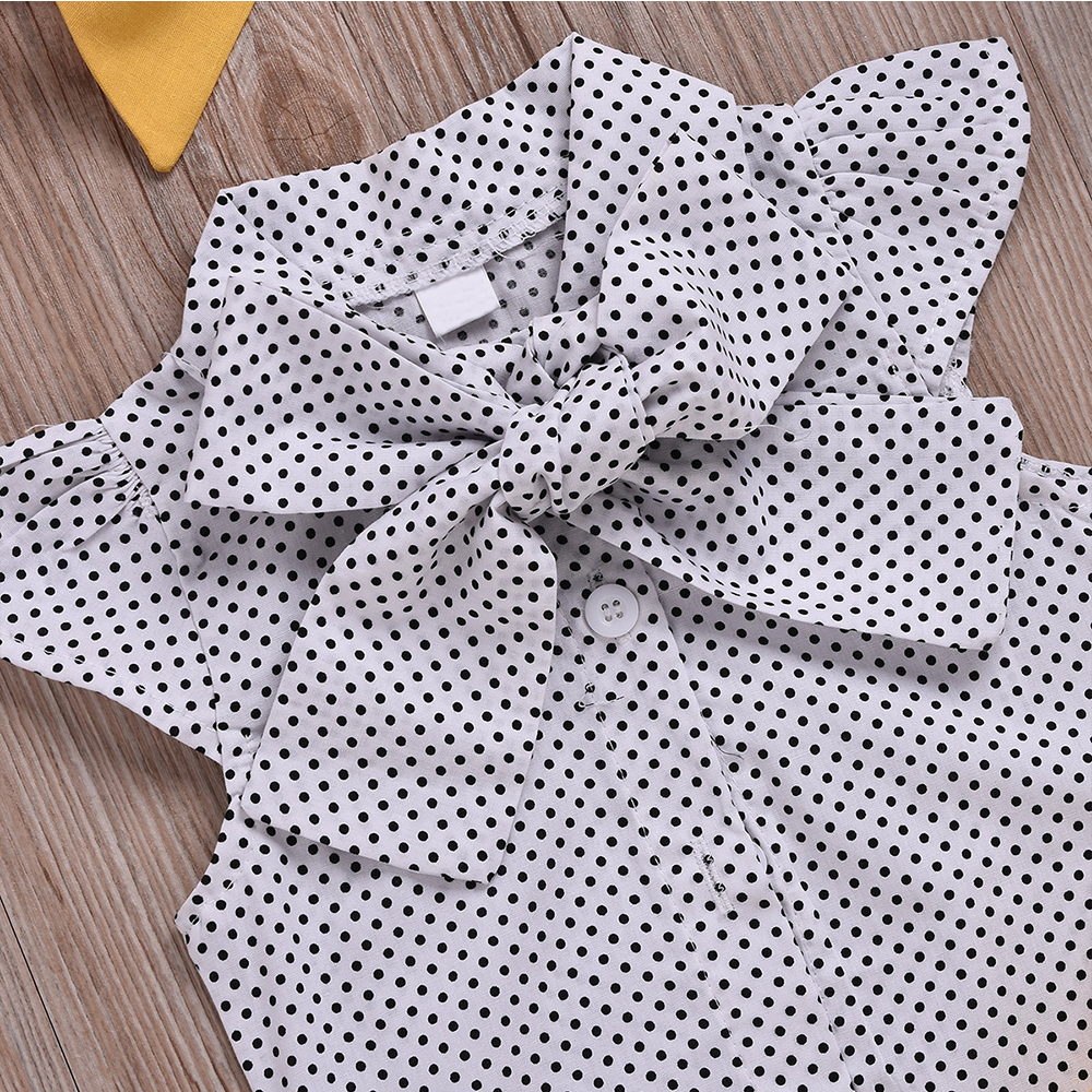 H65e90c3e24a748cba7ab79cfda1c23a1d - HE Hello Enjoy Baby Girls Clothes Sets Summer Dot Flying Sleeve Shirt+Strap Dresses+Headband Kids Children's Clothing Suit