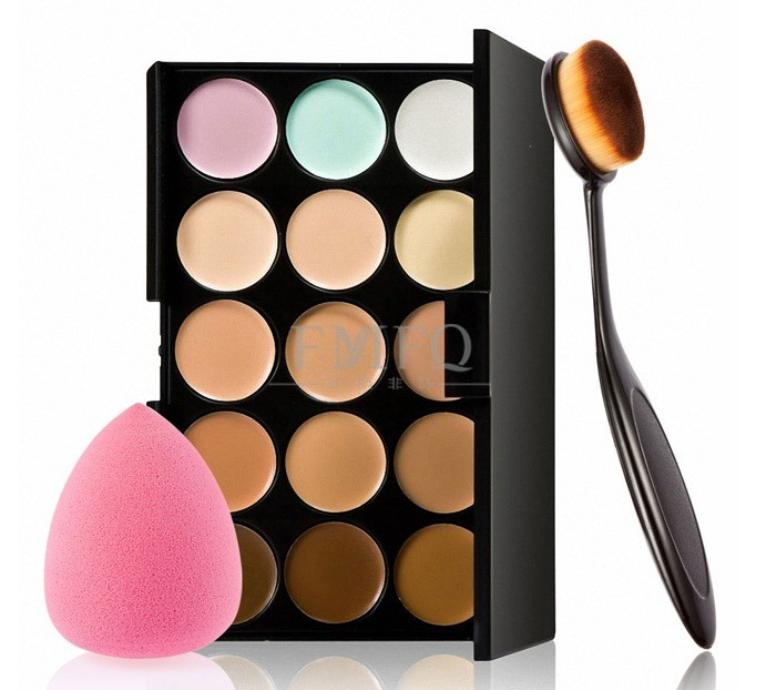 15 color Concealer Contouring Makeup Kit Cream Based Professional Concealer Palette Make up Set Pro Palette brush Sponge Puff image