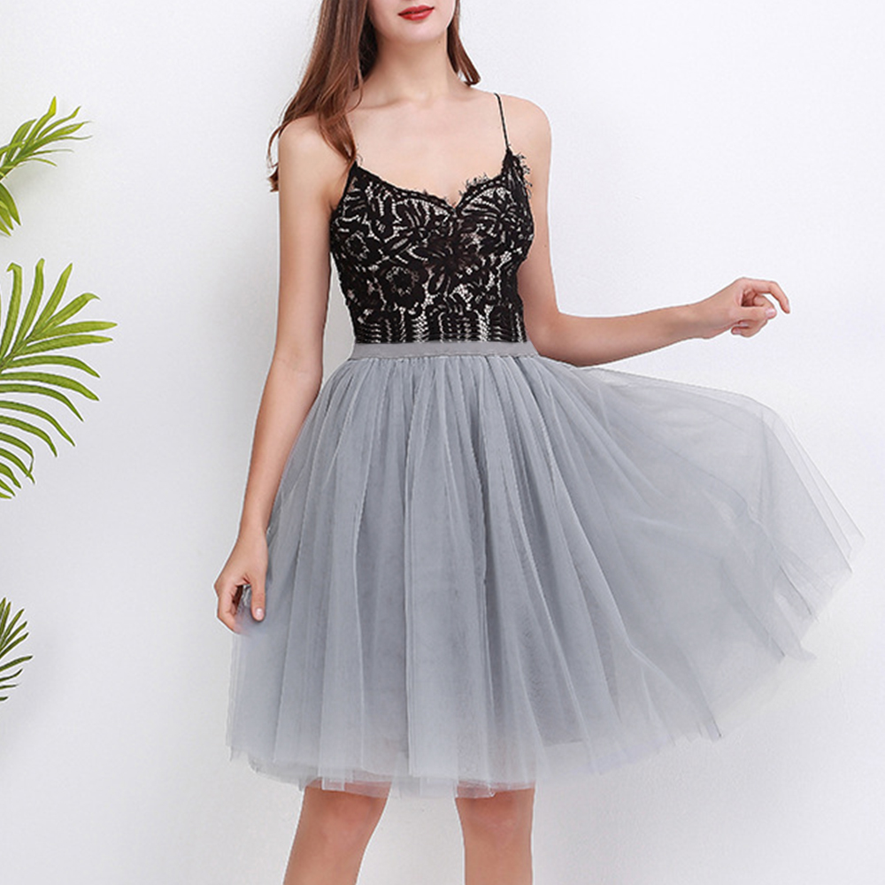 German Carnival 5 Layers Tulle Skirt Vintage Midi Tulle Skirt For Girls Fashion Pleated Skirts Women Party Princess Petticoat