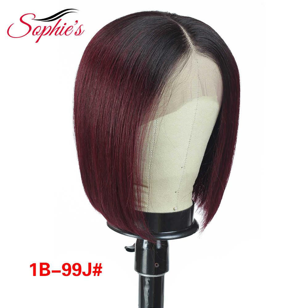 Sophie dantel ön İnsan saç peruk siyah kadınlar için brezilyalı düz dantel ön peruk 13*4 Bob dantel ön peruk s ön koparıp Remy