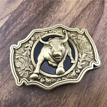 Vintage Bull Belt Buckle Pure Brass Western Cowboy Mens Accessory