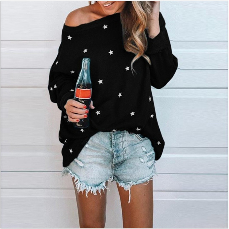 Women Size Off Shoulder T-shirt Star Print Fashion Autumn Winter Long Sleeve Ladies Casual Loose Tops Plus Size Shirt Black image