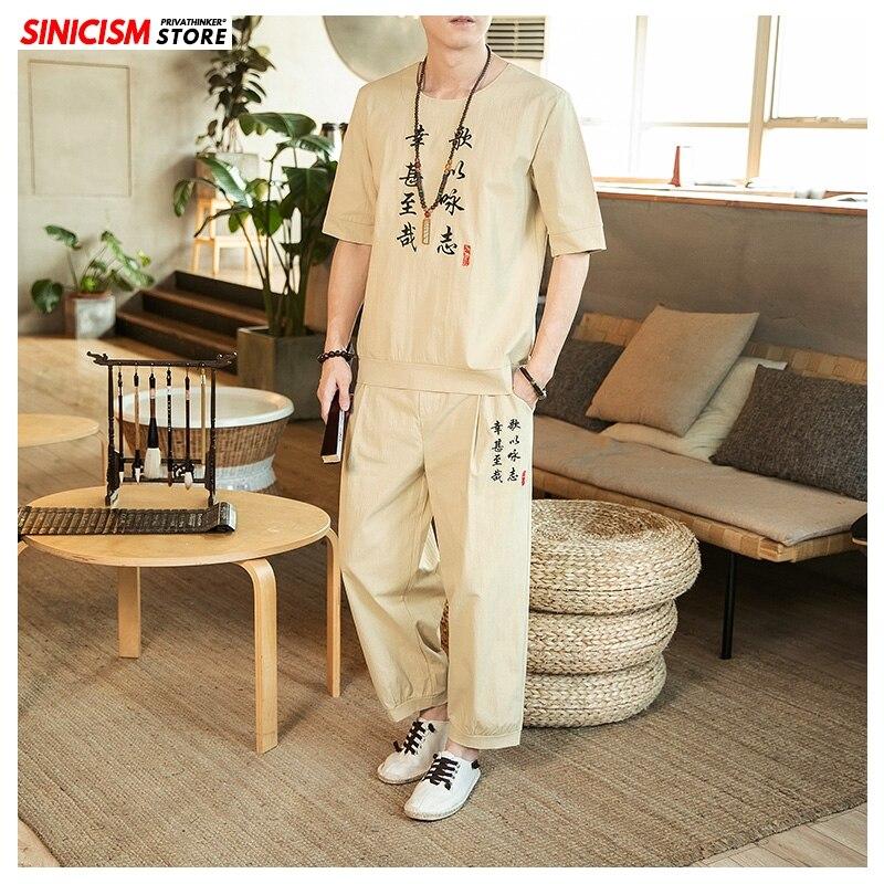 Sinicism Store Men's Sets Spring Chinese Style Coat Vintage Tracksuit Mens 2020 Loose Pants Cotton Linen Suit Male Clothes 5XL