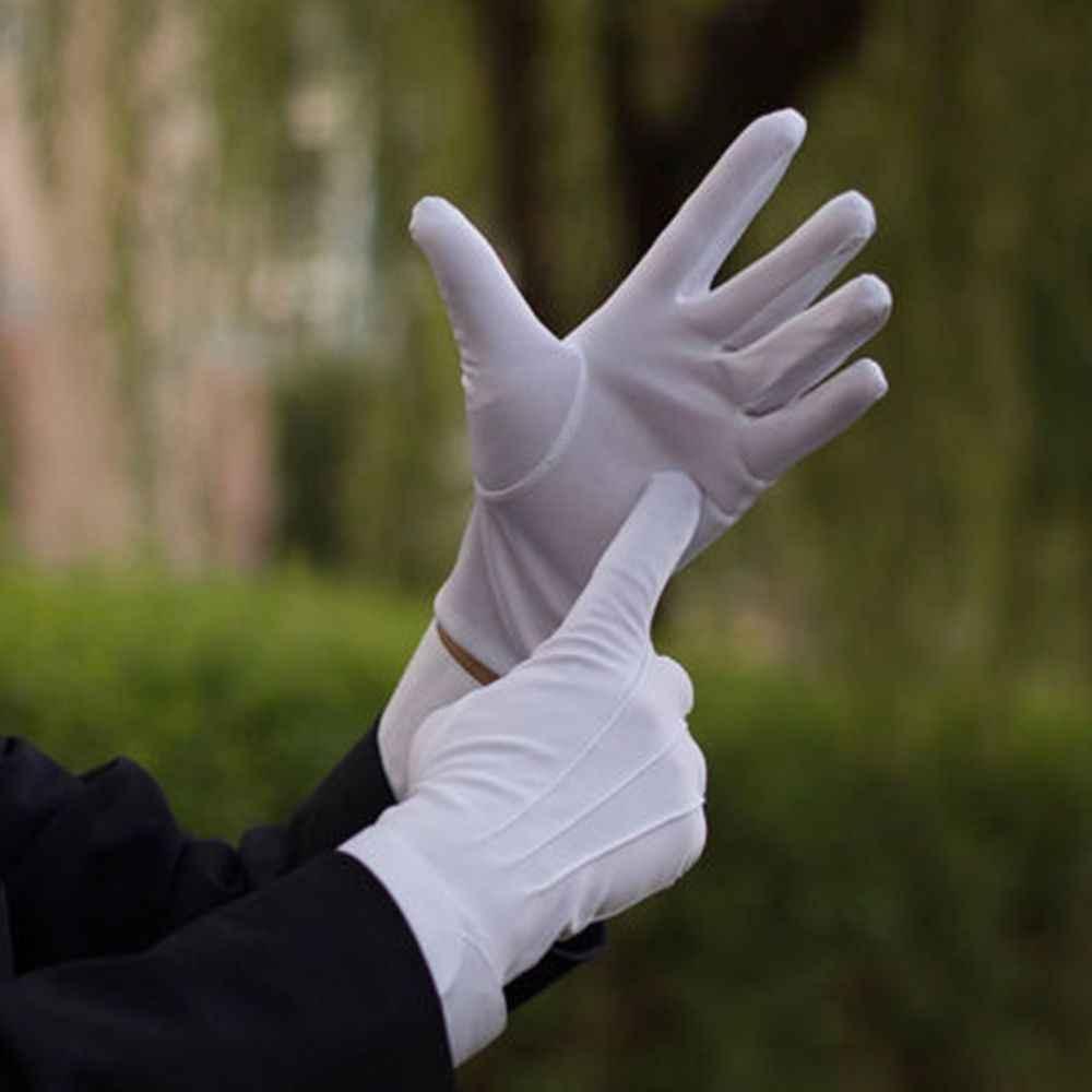 1Pair Bianco Guanti Formali Smoking Guardia D'onore Sfilata Collezione Servire Guanti Sottili Guanti Spessi Guanti di Performance di Controllo Degli Uomini