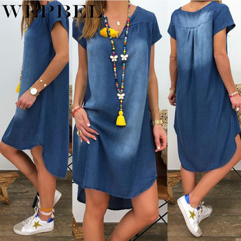 WEPBEL Plus Size Fashion Summer Denim Dress Ladies Short Sleeve V Neck Loose Denim Midi Dress Women Jeans Dresses Plus Size dana kay women s plus size scarf fit and flare midi dress