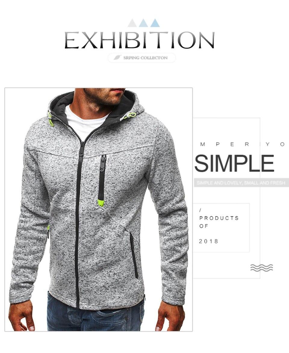 Men Sports Casual Wear Zipper Fashion Tide Jacquard Hoodies Fleece Jacket Fall Sweatshirts Autumn Winter Coat 18