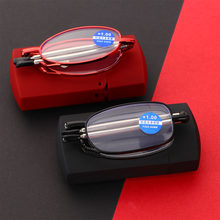 Fashion MINI Design niebieskie światło dowód okulary do czytania mężczyźni kobiety składane małe okulary rama czarne metalowe okulary z oryginalnym pudełku