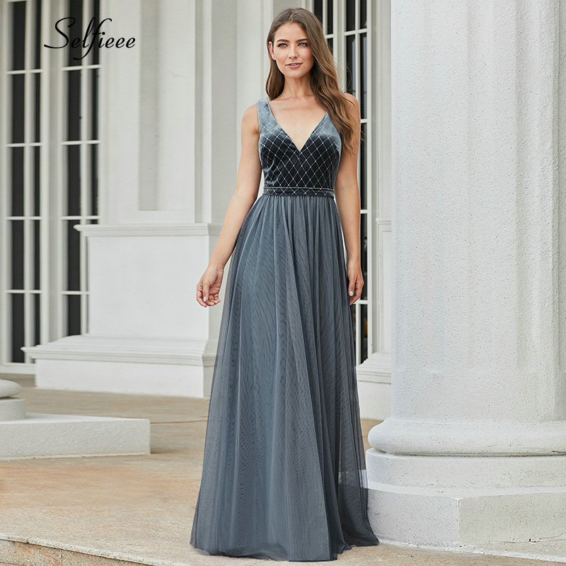 Ever Pretty Dusty Blue Bridesmaid Dresses A-Line V-Neck Sleeveless Sparkle Dresses For Wedding Party Robe Demoiselle D'honneur
