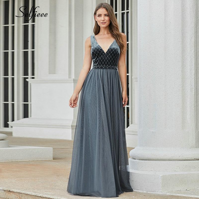 Ever Pretty Dusty Blue Bridesmaid Dresses A-Line V-Neck Sleeveless Sparkle Dresses For Wedding Party Robe Demoiselle D'honneur