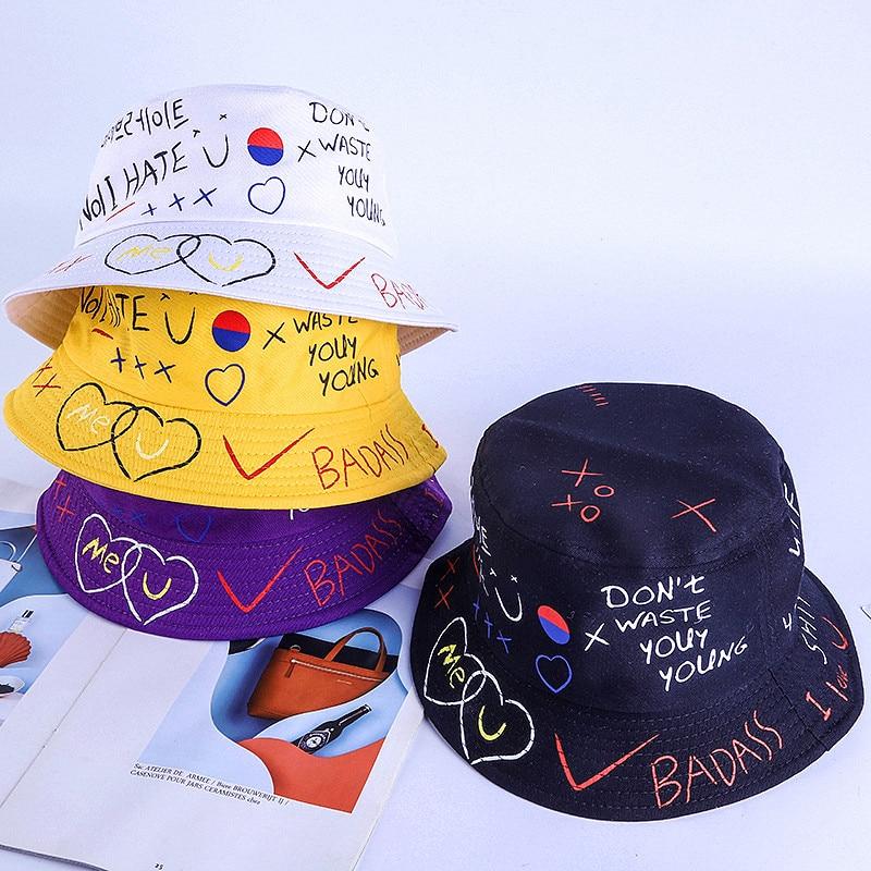 Black White Print  Bucket Hat Unisex Bob Caps Hip Hop Men Women Summer Panama Cap Beach Sun Fishing Solid Hat Korea