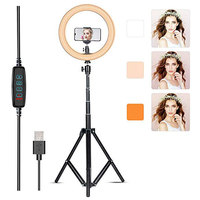 Foleto LED Ring Lamp 10 Dimmable Selfie Ring Light with Tripod Stand and Phone Holder for Iphone Live Stream Make Up YouTube