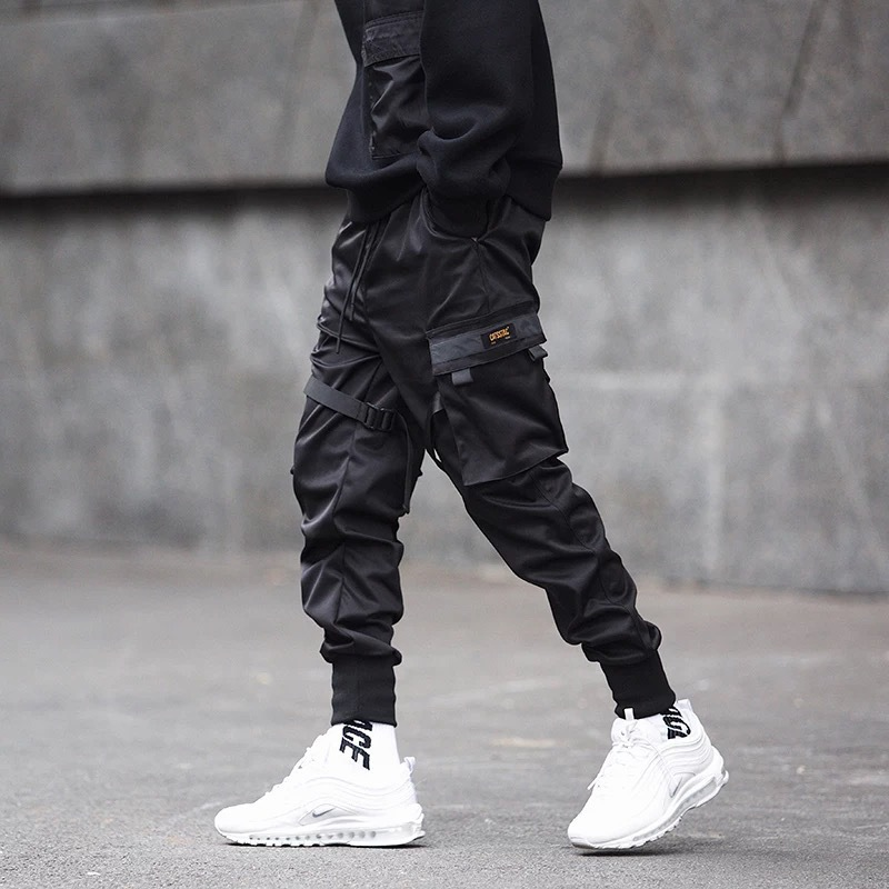 Enshadower Youth Ankle Banded Pants Men's Popular Brand Function Tactical Paratroopers Bib Overall Casual Students Slim Fit Skin