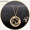 Персонализированные «любящее сердце» ожерелье с круглой подвеской пользовательские ожерелья из камня по дате рождения гравировка имени Ш...