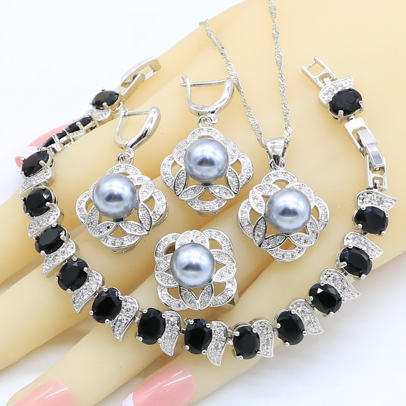Jewelry-Sets Rings Necklace Pendant Zircon Pearl 925-Sterling-Silver Women Gray for Black