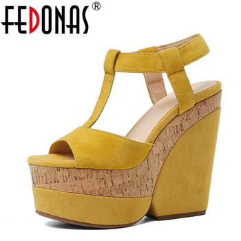 FEDONAS  Women Sandals Kid Suede Pumps Thick Bottom High Heels Casual Shoes Summer High Quality Brand Design Elegant Shoes Woman