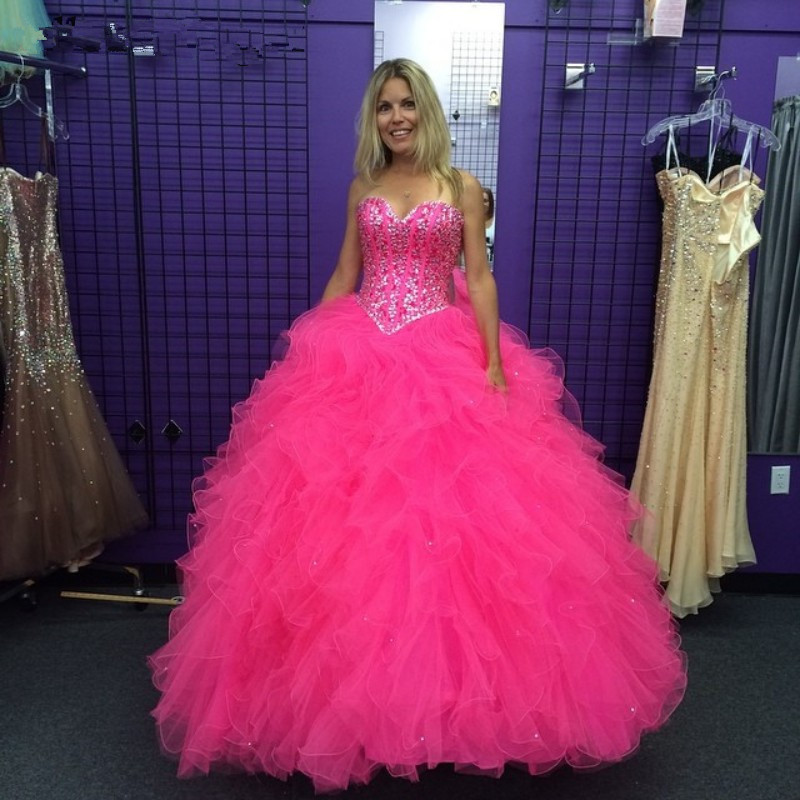Hot Pink Elegant Quinceanera Dresses With Frils 2019 Real Pictures Sexy Lace Up Crystal Ball Gowns Sweet 15 16 Prom Gowns