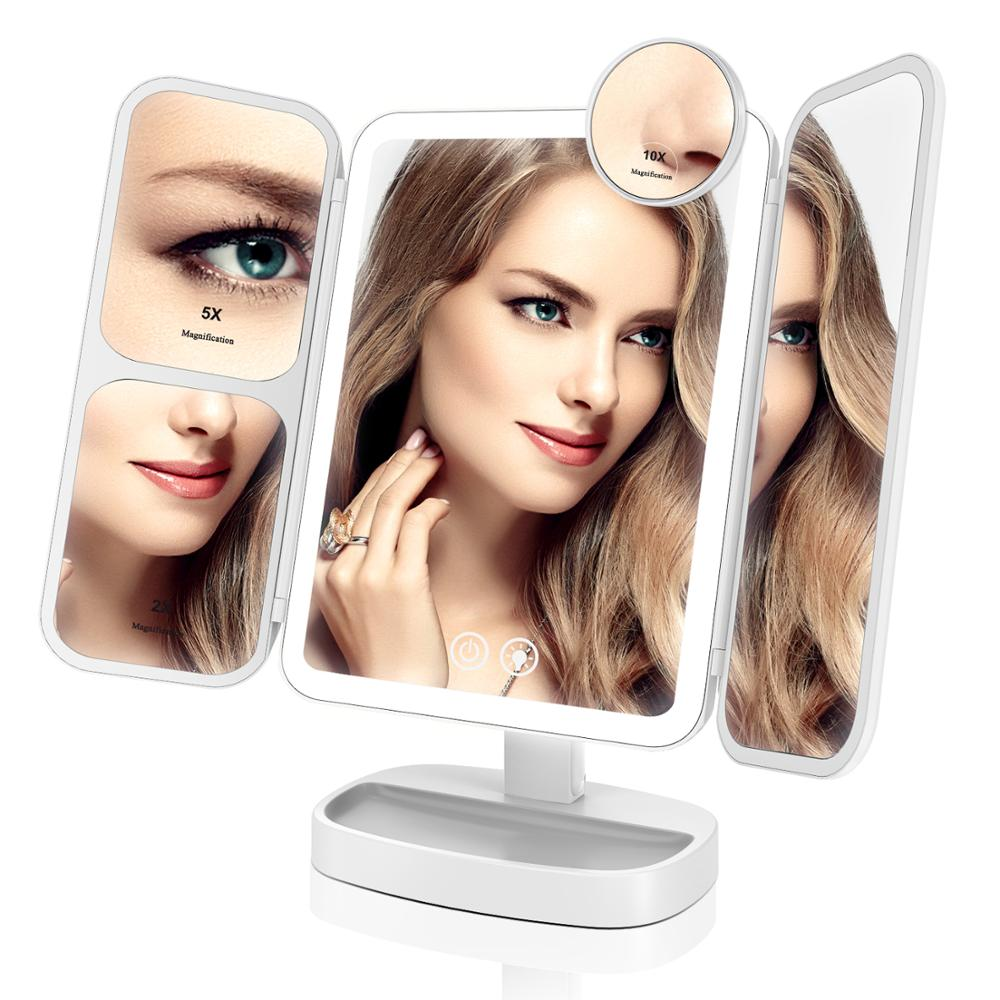 EASEHOLD 2x/5x/10x Magnifying Makeup Mirror Vanity 66 LEDs Rechargeable 3 Color Modes Adjustable 180 and 90 Degree Rotation image