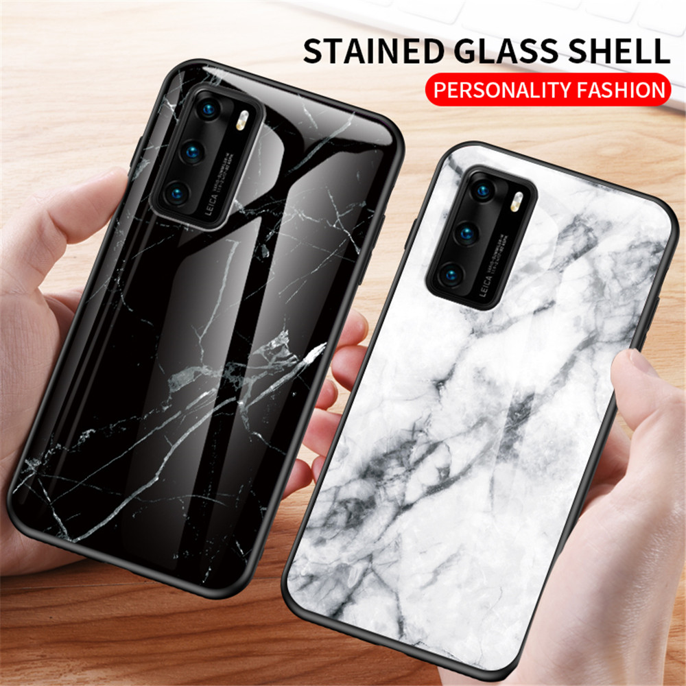 Phone Case sFor Huawei P40 P30 P20 P40 Lite E Mate 20 Pro Lite Case Luxury Marble Tempered Glass Soft Silicone Cover Capa(China)