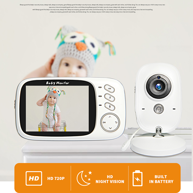 VB603 Wireless Video Color Baby Monitor with 3.2Inches LCD 2 Way Audio Talk Night Vision Surveillance Security Camera Babysitter|Baby Monitors| - AliExpress