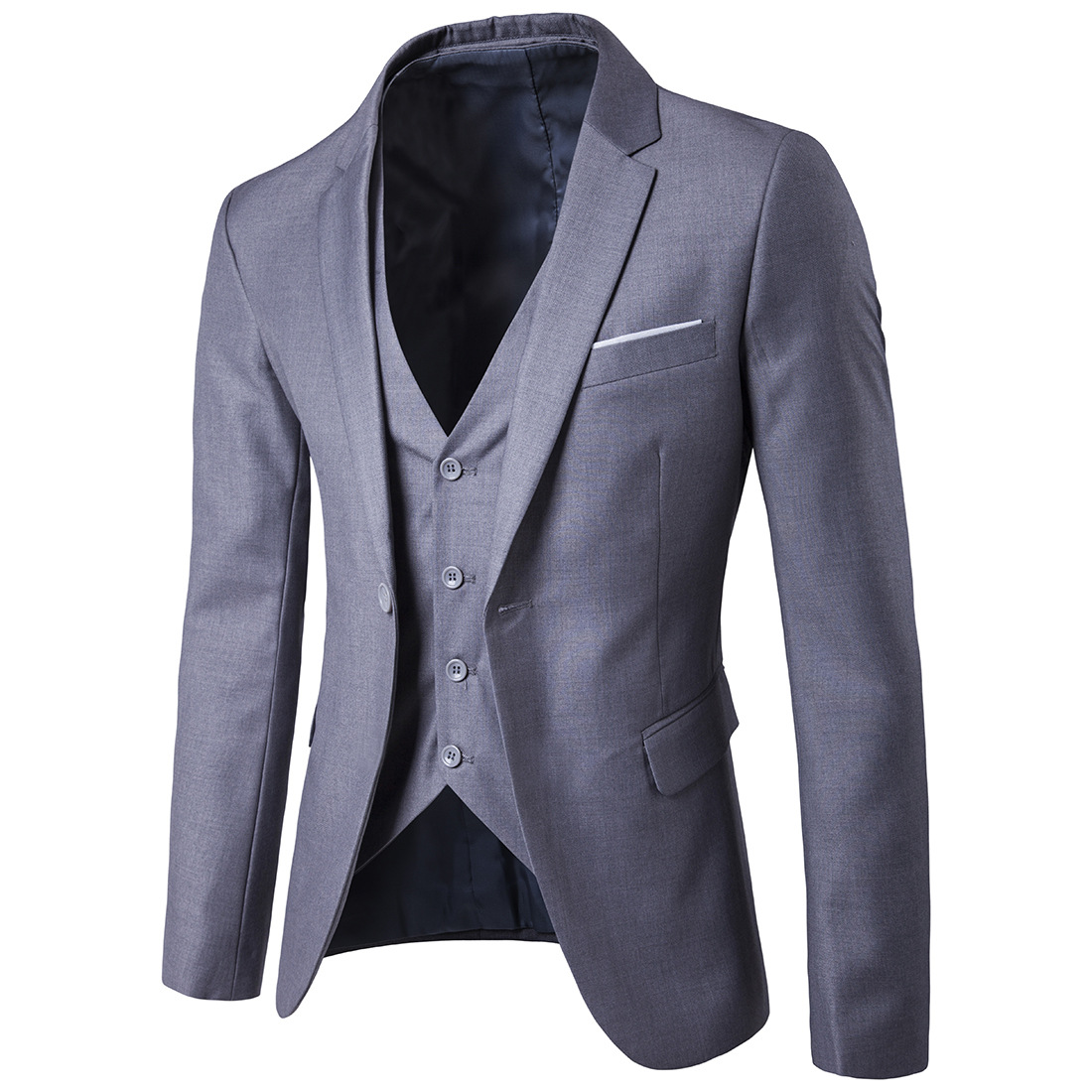 2019 Business Leisure Suit Three-piece Set Groom Best Man Wedding One-Button Suit Set Light Gray S-6xl