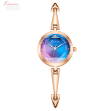 Dress Watch Quartz Rainbow-Gradient Stainless-Steel Kimio Color Dial Ladies Brand Women