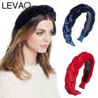 LEVAO Westlichen Stil Gold Samt Handarbeit Twist Breite Größe Wilden Haarbänder Lünette Turban Frauen Stirnbänder Mädchen Zubehör Headwear