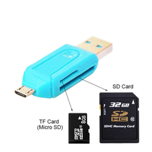 New micro USB and USB 2-in-1 high-speed OTG card reader USB2.0 general OTG TF / SD for Android computer expansion head