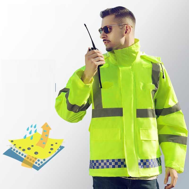 Hallo Vis sicher reflektierende streifen outwear jacke mantel regenmantel winddicht wasserdicht antifouling mit kapuze uniform Verkehrs polizei outfit