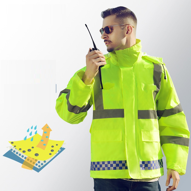 Hi Vis Safe Reflective Strip Outwear Jacket Coat Raincoat Windproof Waterproof Antifouling Hooded Uniform Traffic Police Outfit