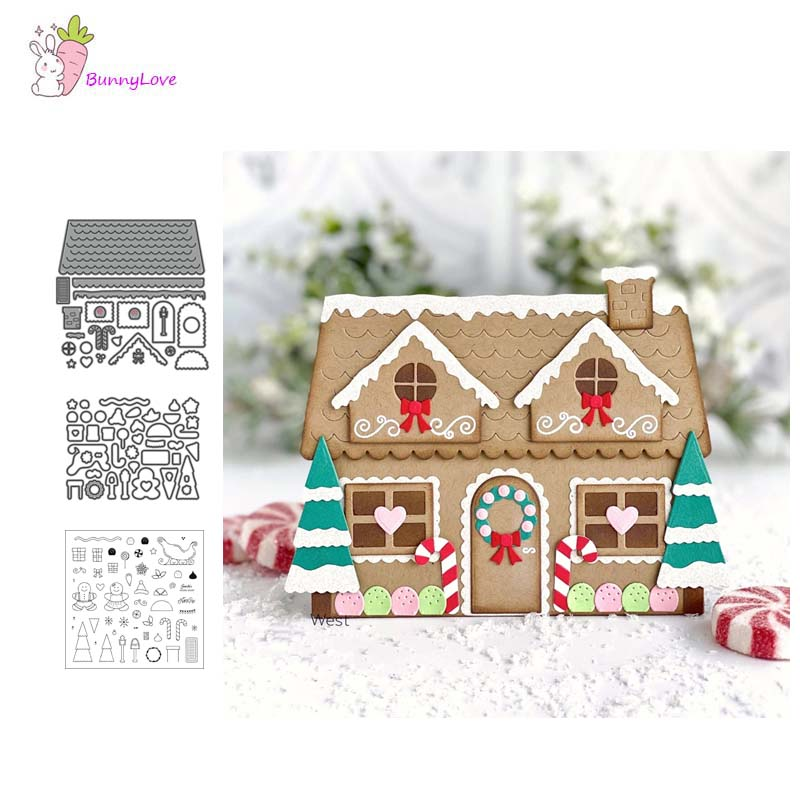 <font><b>Christmas</b></font> house Metal <font><b>cutting</b></font> <font><b>dies</b></font> and Clear Stamps Transparent Silicone Seal for DIY scrapbooking photo album Decorative image