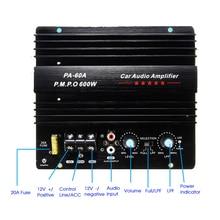 Altavoz PA 60A de 12V y 600W, Subwoofer, módulo de graves, accesorios de Audio de alta potencia para coche, tablero amplificador sin pérdidas duradero de canal único