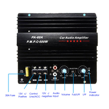 New 12V 600W PA 60A Speaker Subwoofer Bass Module High Power Car Audio Accessories Mono Channel Durable Lossless Amplifier Board
