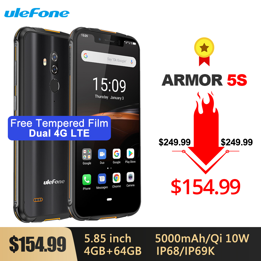 Ulefone Armor 5S Waterproof IP68 NFC Rugged Mobile Phone 5.85'' Octa-core Android 9.0 4GB+64GB Wireless Charge 4G LTE Smartphone